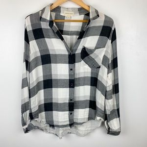 Anthropologie Cloth And Stone Plaid Button Up M